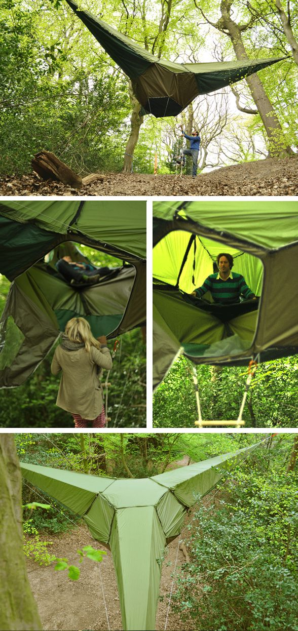 Treehouse/hammock/tent. SO COOL: Hammocks Tents, Treehouse Hammocks T, Outdoor, Camps, Trees Tents, Trees House, Point Hanging, Three Point, Hanging Tents