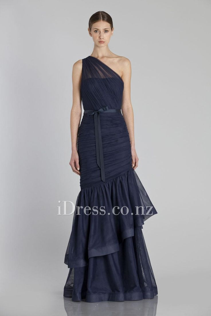 all over ruching navy bridesmaid dress with tiered flare skirt from idress.co.nz