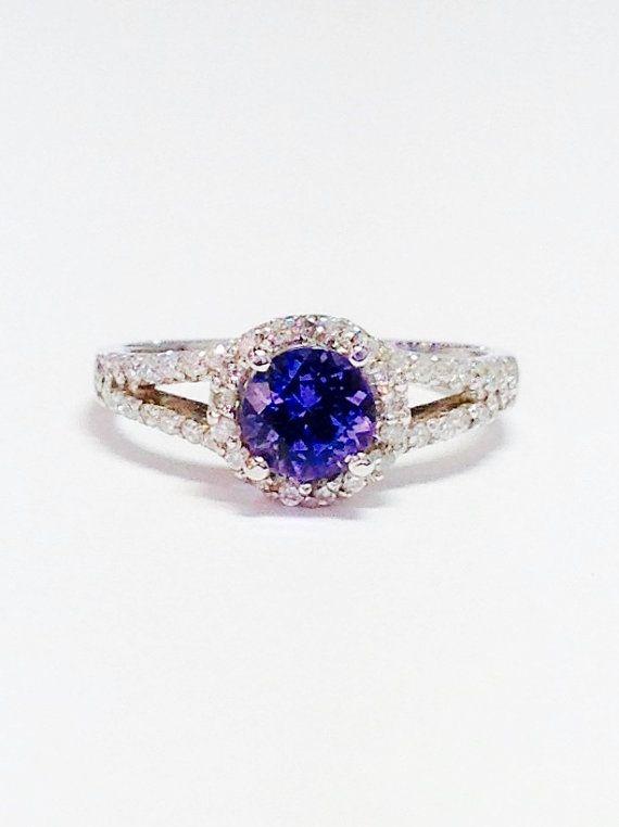 Tanzanite Gemstone Ring Round Halo Art Deco Diamond Engagement