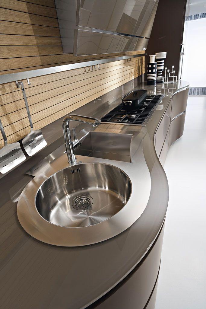 Dune line unique contemporary kitchen cabinets designed without handles