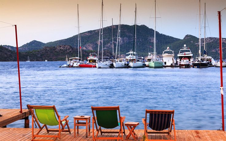 Deck chairs in Selimiye, the Bozburun Peninsula, Turkey