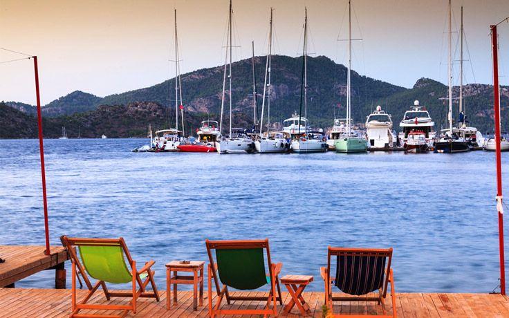 Deck chairs in Selimiye, the Bozburun Peninsula, Turkey