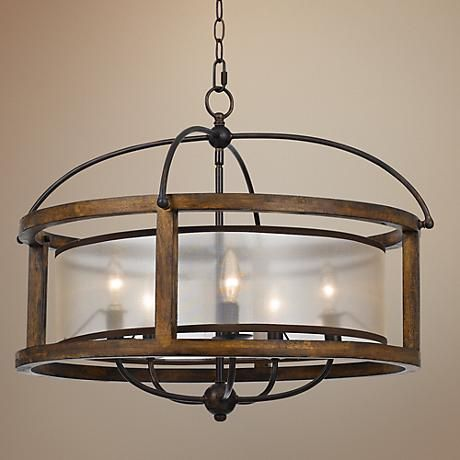 "Mission 26"" Wide Wood 5-Light Pendant Chandelier - #6N665   LampsPlus.com"