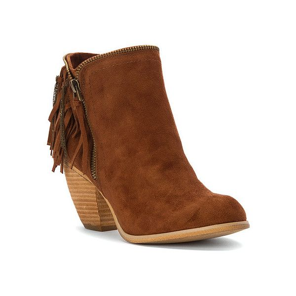 Not Rated Flippin Fringe Boot Ankle Boots ($65) ❤ liked on Polyvore