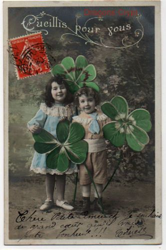 d tails sur carte postale ancienne cueillis pour vous enfants tr fles 4 feuilles 1906. Black Bedroom Furniture Sets. Home Design Ideas