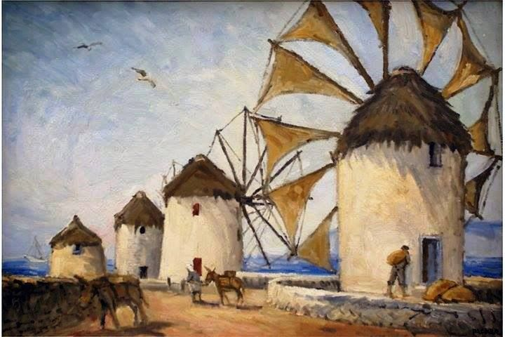Δήμος Μπραέσας(1880-1964) Μύκονος 10ετία 50-Οι Κάτω Μύλοι.