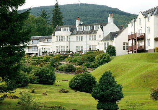 A traditional Scottish Highlands hotel on the bank of Loch Ard in the Trossachs