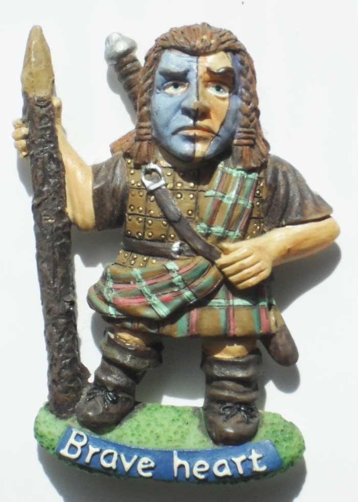 Magnet / Магнит. Шотландия: Уильям Уоллес - храброе сердце (шотландский рыцарь и военачальник, предводитель шотландцев в войне за независимость от Англии. Внешность героя на магните напоминает Мела Гибсона)