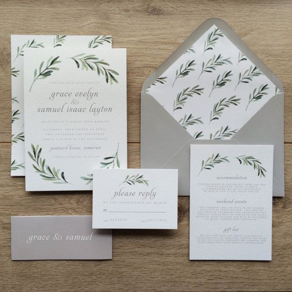 OLIVE | Botanical Wedding Invitations, Olive Wedding Invites, Floral Wedding  Invite Modern Botanical Wedding