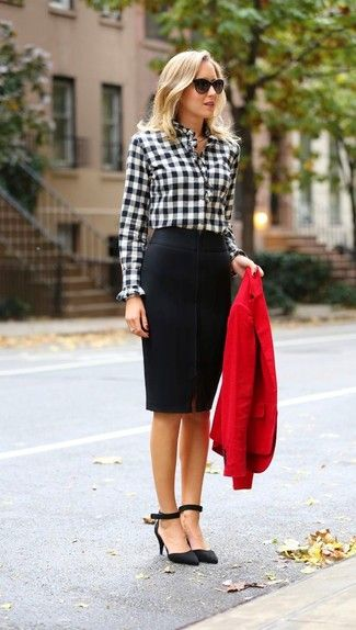 Women's Red Blazer, Black and White Gingham Long Sleeve Blouse, Black Pencil Skirt, Black Suede Pumps