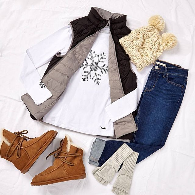 """The most perfect outfit that will help you stay warm and stylish this winter! Outfit: """"Icy Delight"""" available at birdsnest.com.au  Outfit Details: #PrettyInPink Vest, #Levis Jeans, #SnowAngel Tee, #Papinelle Beanie & Gloves, #EmuAustralia Boots, #birdsnestonline"""