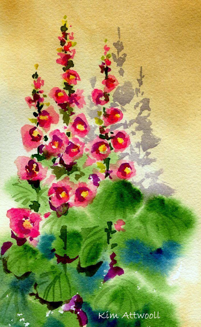 Hollyhock Shadows, watercolor by Kim Attwooll