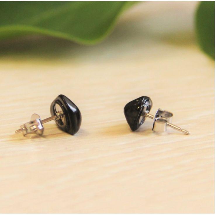 Shungite stud earrings with a tumbled stone $9.99