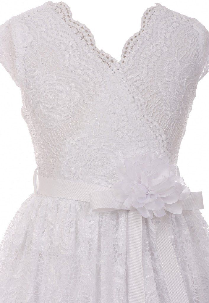 96163c150 BNY Corner Flower Girl Dress Curly VNeck White Embroidery allover For  Little Girl White 10 JKS.2066 >>> You can get additional details at the  image link.