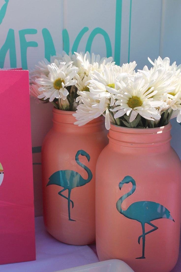 Flamingo Mason Jars - flamingo party favors - hawaiian party decor -  luau party centerpieces
