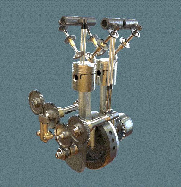 Model of the Week FullyAnimated Triumph 2 Cylinder 4