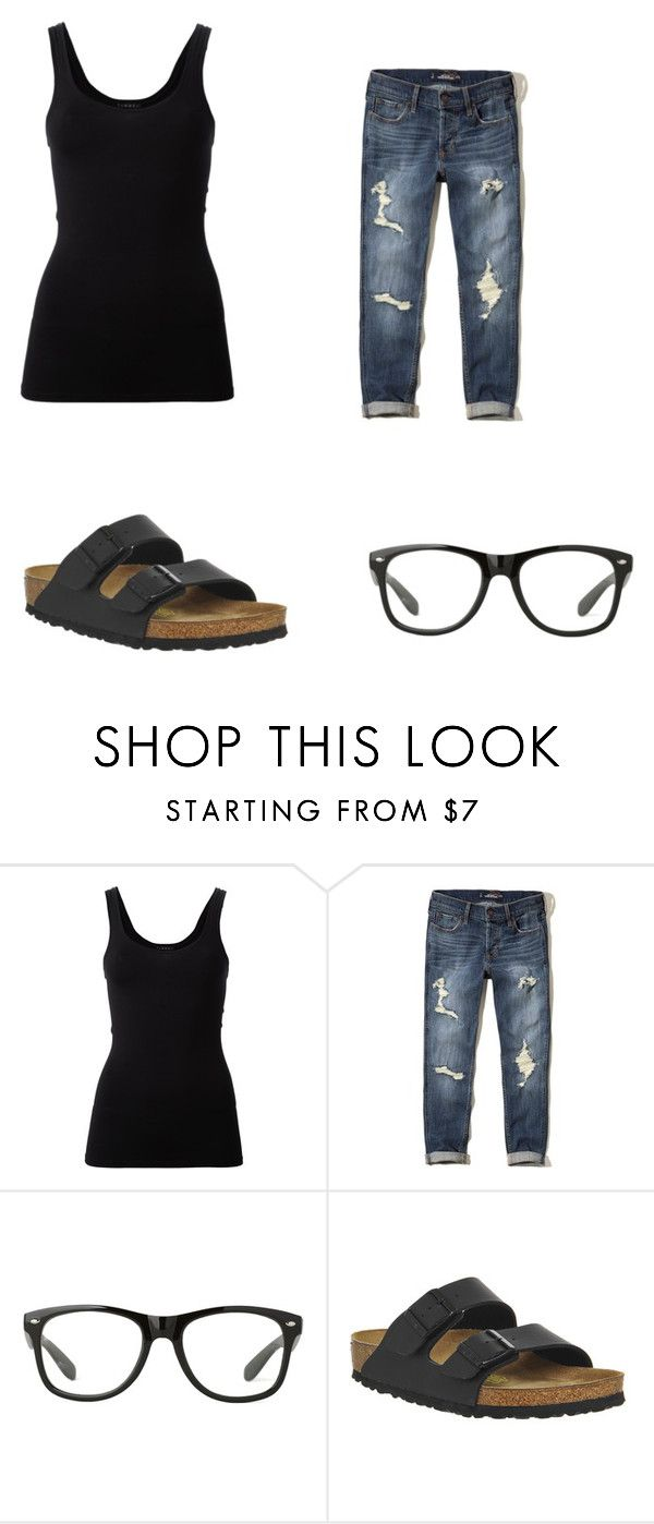 """""""black lazy"""" by leenapod on Polyvore featuring Theory, Hollister Co. and Birkenstock"""