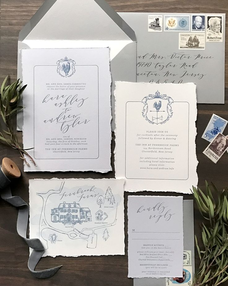 Classic Gray and French Blue Letterpress Wedding Invitations by Darling and Pearl