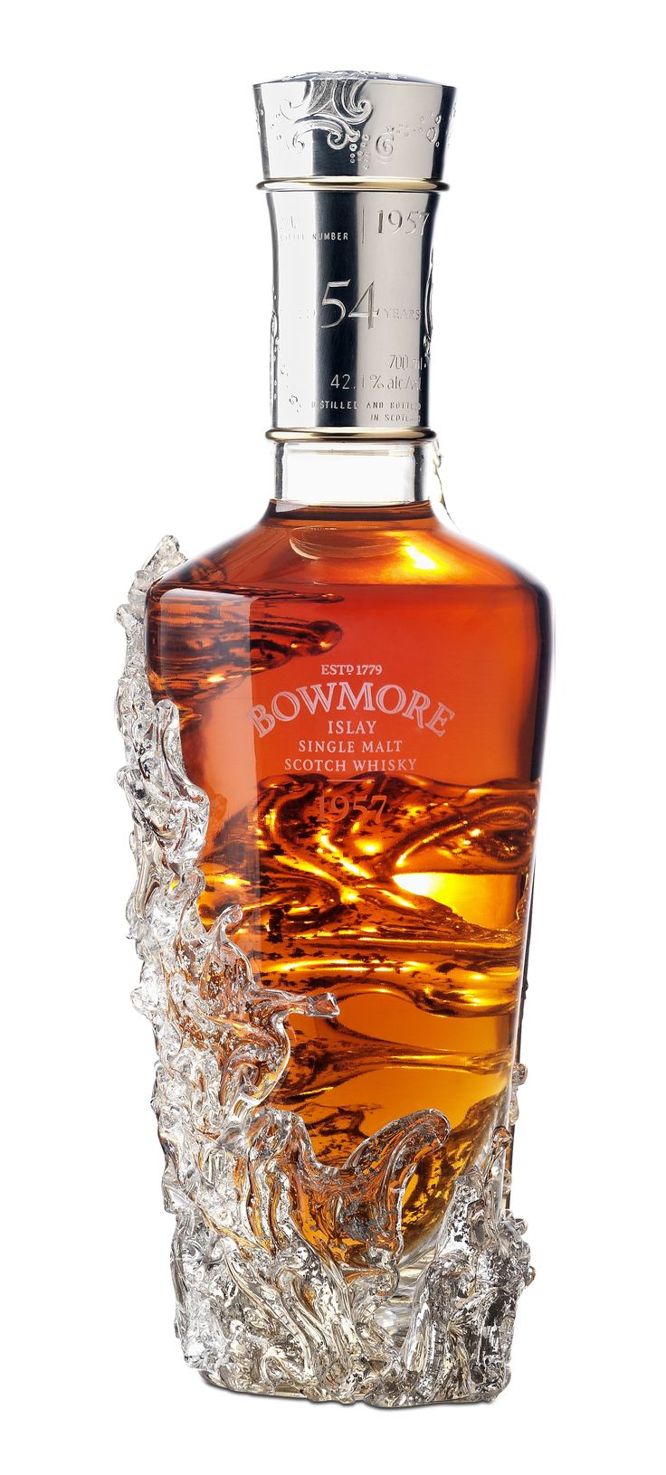 Bowmore  1957 - 54 year old Single Islay Malt Scotch Whisky.the oldest ever Bowmore and the oldest Islay single Malt ever released to the public.   Only 12 bottles in existence in the world 2 went to auction with minimum set price starting at US$155,000 the highest ever set.  All proceeds of the auctions will be donated to five Scottish charities.  Two went to Bowmore archives and 8 to the public but you have to go to the Bowmore Distillery in person to purchase a bottle.