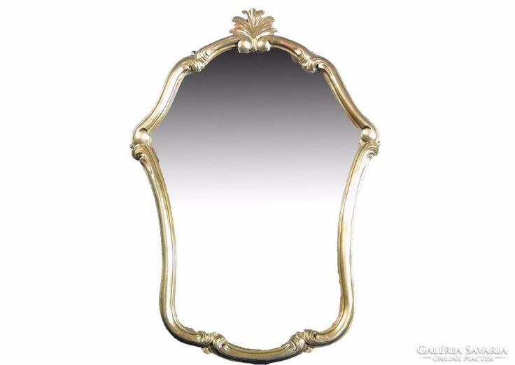 0C163 Antik aranyozott faragott tükör