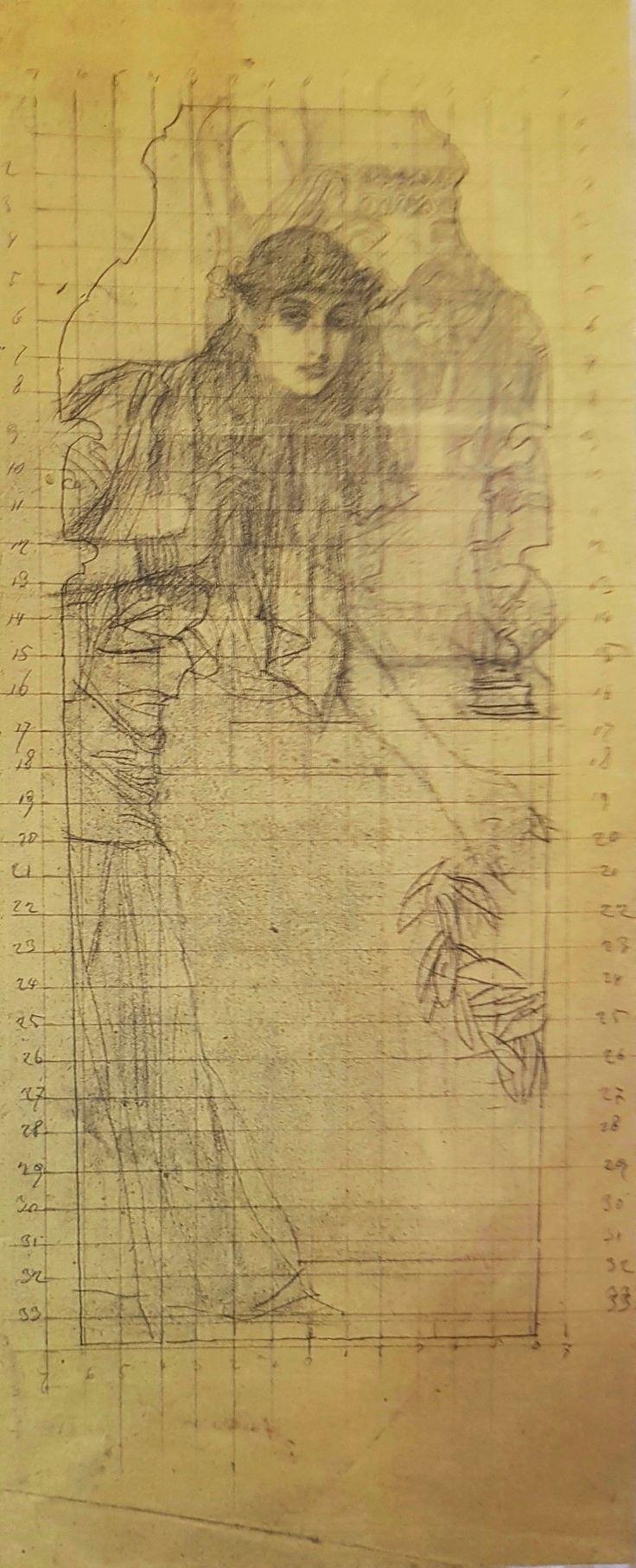 "Gustav Klimt: Studio per l'intercolumnio ""Antichità greca II"" (1890-91) gessetto nero, matita e penna 45x63,4"