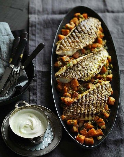 Grilled snapper fillets with spiced sweet potato salad and yoghurt. Photo by William Meppem. Recipe: http://www.smh.com.au/lifestyle/cuisine/seafood/recipe/grilled-snapper-fillets-with-spiced-sweet-potato-salad-and-yoghurt-20120116-1q209.html?rand=1326836463439