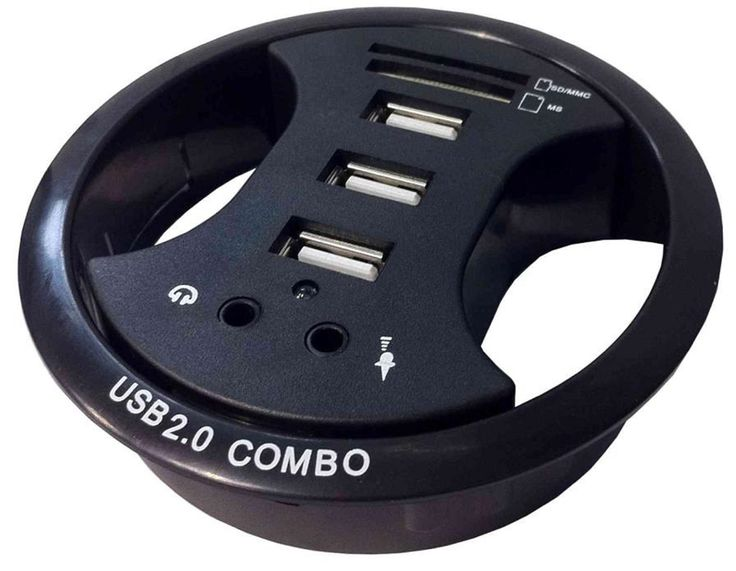 3 x USB Desk Grommet with SD / MS
