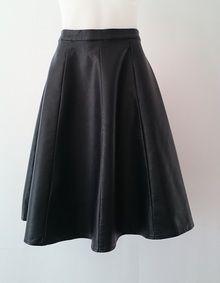 Olivia - knee length leather look flared skirt