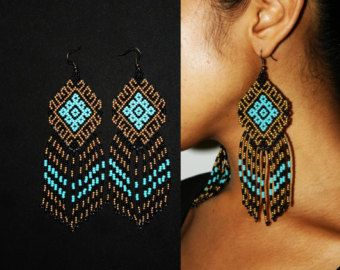 Huichol Tribal Earrings Aztec Pattern от BiuluArtisanBoutique
