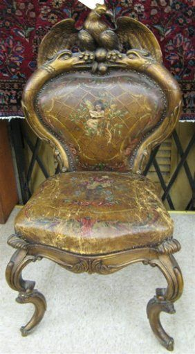 163: CARVED GILTWOOD SIDE CHAIR, Continental, Early 20 On