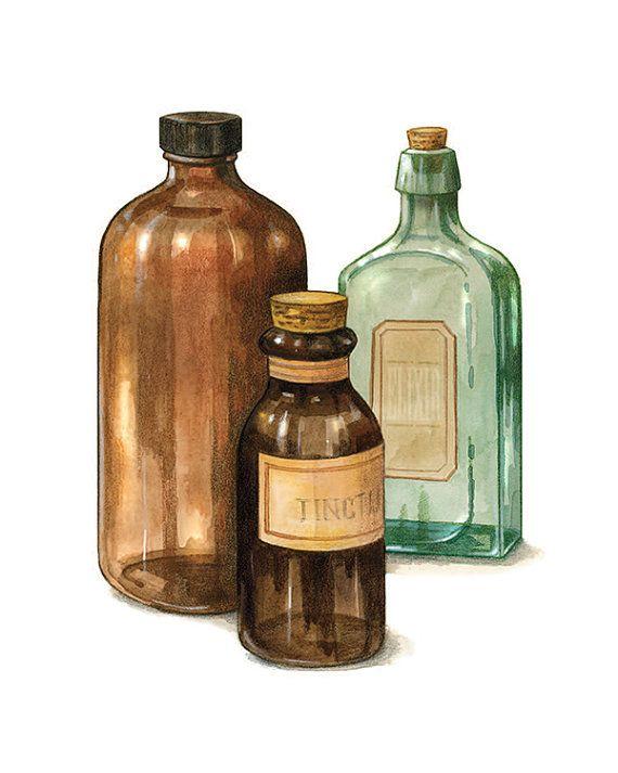 Pharmacy Gift, Apothecary Tools, Old Glass Bottles Print, Gift for Pharmacist, Vintage Bottle Art, Home Decor Print,  6 x 8 or 8 x 10