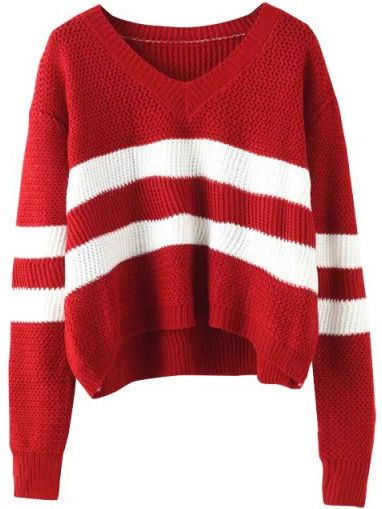 V Neck Striped Wine Red Sweater , 40% Off 1st Order