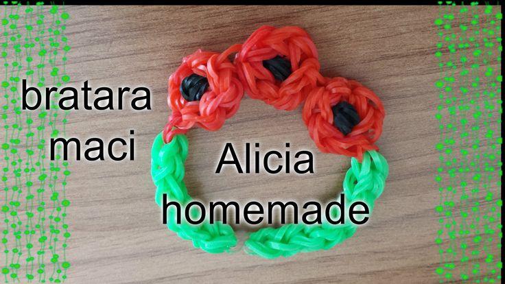 Bratara maci elastice gumite rubber bands loom din colectia bratari din elastice- bratara flori