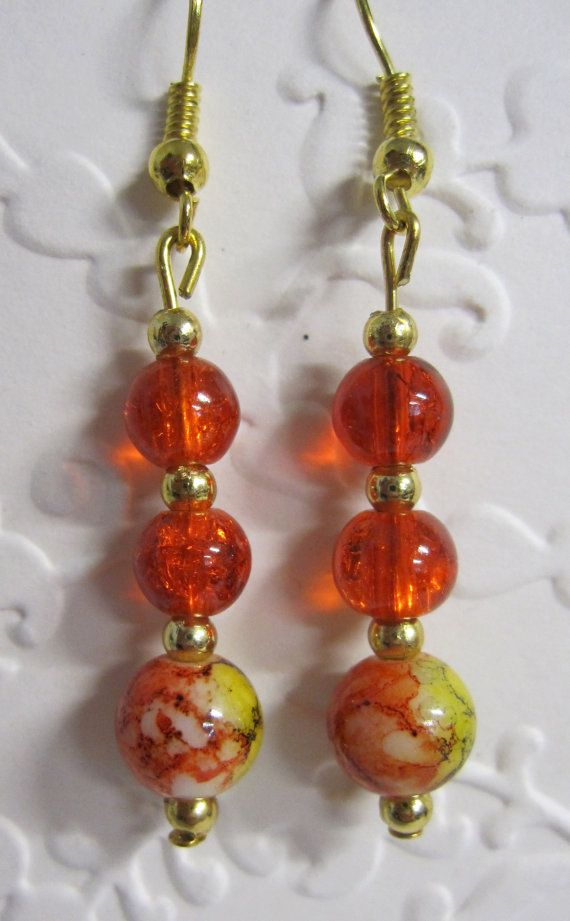 Orange  and Yellow Bead Drop Earrings with Gold finish fittings