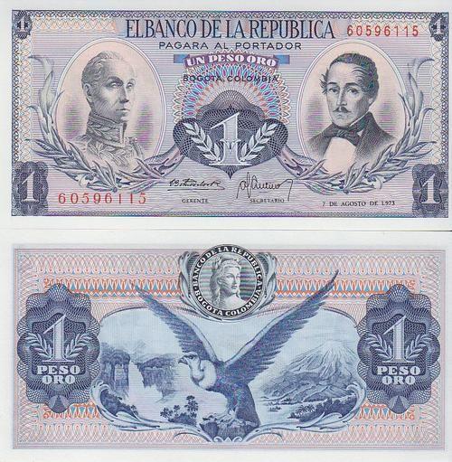 COLOMBIA 1 PESO ORO P404e 1973  UNC