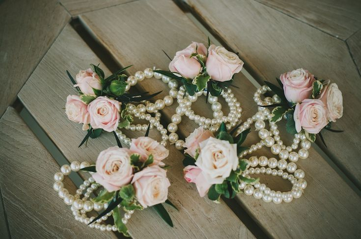 Stretchy Wedding Bands >> blush wedding flower corsage pearl bracelet wedding flowers utah calie rose www.calierose.com ...