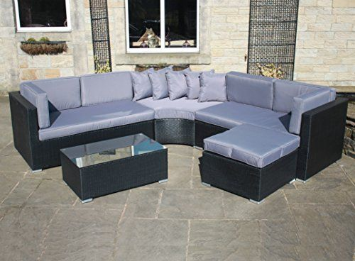 Rattan Outdoor Curved Corner Sofa Set Garden Furniture in Black