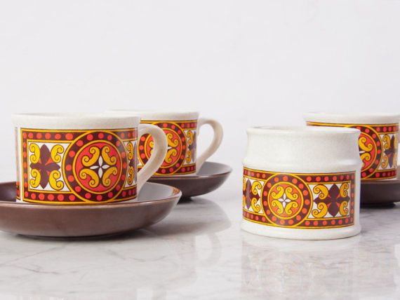 Mid Century Teacup Set / Sadler Tea Cup set / Boho tea Set / Tea Cups and Saucer Set / Midcentury Retro Pottery Set / Mismatched Tea Cups / decor / kitchen / patio