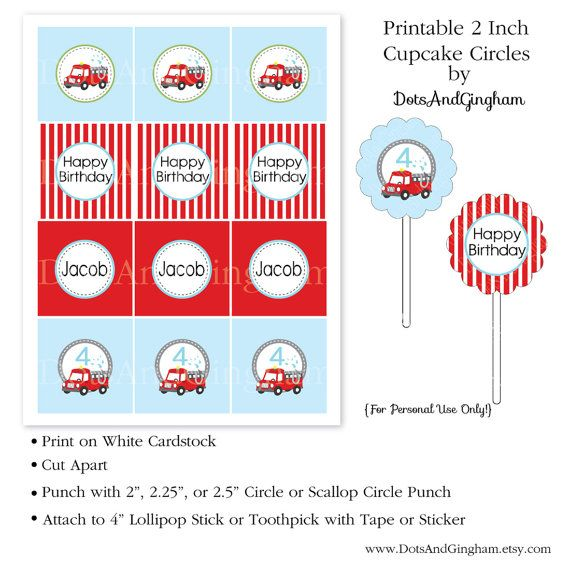 Fire Truck Cupcake Toppers  Printable Fire Truck by DotsAndGingham, $8.00