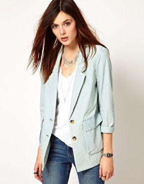 On the lookout for a denim short suit... Perhaps this jacket with a pair of denim shorts?