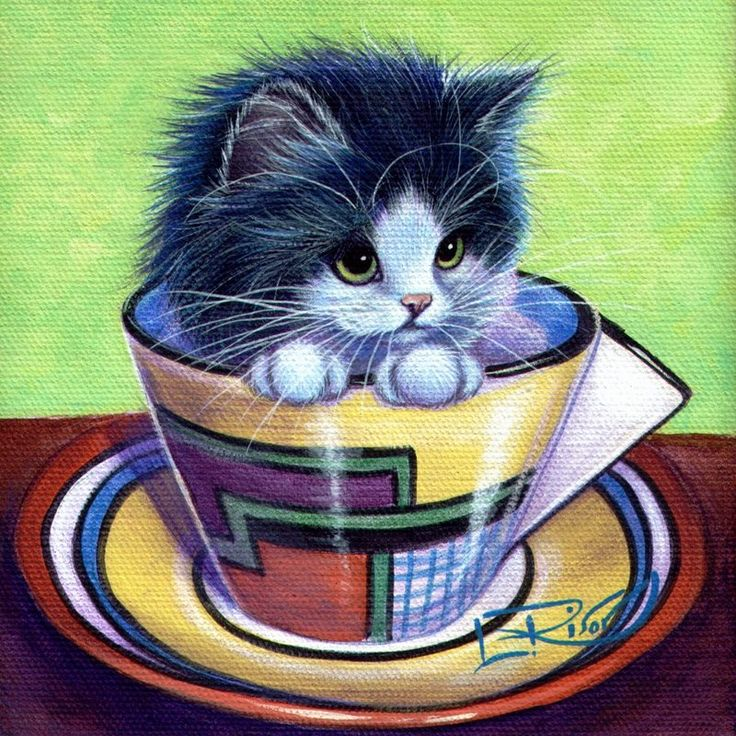 Tea Time by ~carefulwhatyawishfor. (Note: Link sends to deviantart search engine). #CatArt #Cat