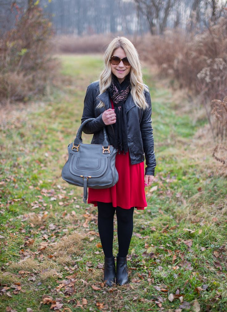 Red, Leather, and Rose Gold Scarf - Mix & Match Fashion