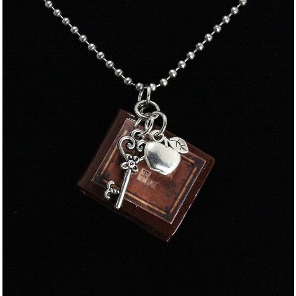 "Once Upon A Time Necklace ""Henry's Book"" V1 Poison Apple and Queen's... (€15) ❤ liked on Polyvore featuring jewelry, necklaces, once upon a time, skeleton necklace, stainless steel jewellery, stainless steel jewelry, long necklace and twist jewelry"