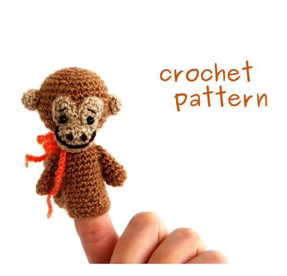 USD 4.31 monkey crochet pattern, animal finger puppet, #digital #description, PDF file, how to make a monkey puppet, educational toy, make it #yourself
