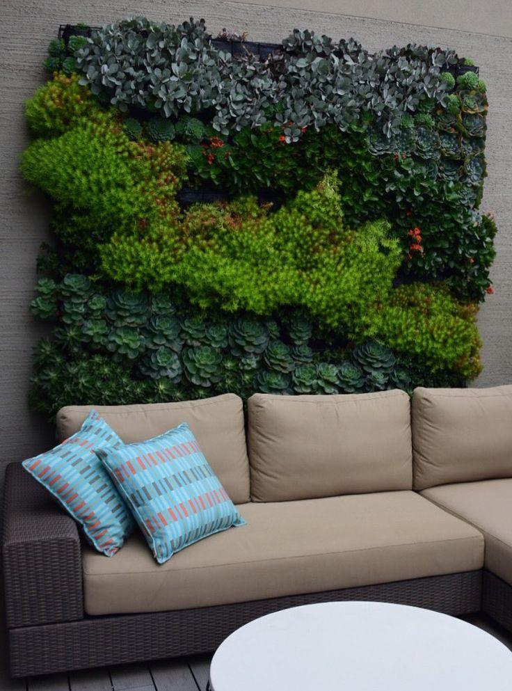 Botanical Space - Landscape Design & Construction - Melbourne - Australia - 2m x 2m rooftop vertical garden - Planted out with succulents - 4 months post construction