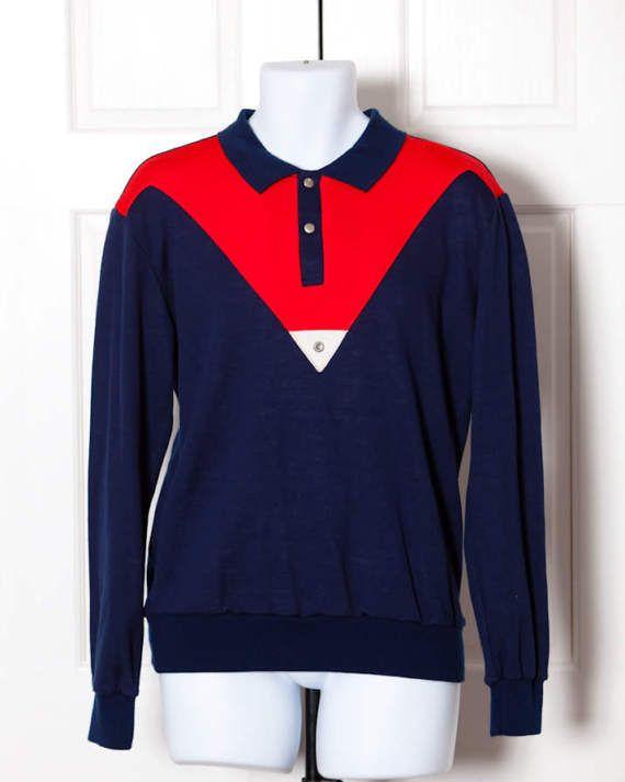 L Vintage 80s Collared Sweatshirt Shirt TRAX Activewear
