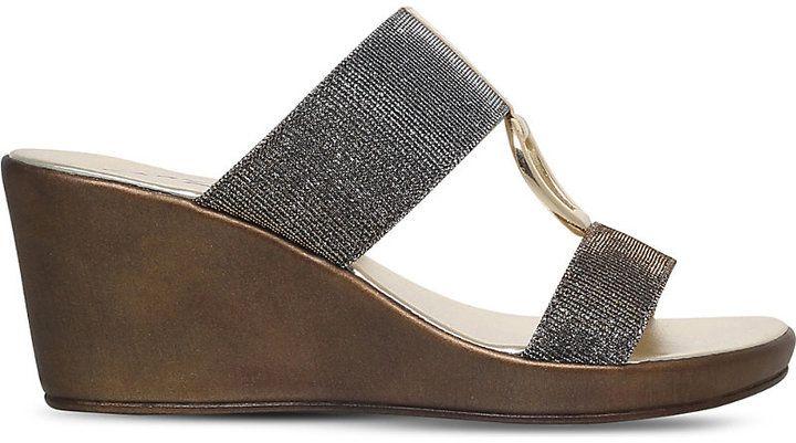 Carvela Comfort Salt metallic wedge sandals