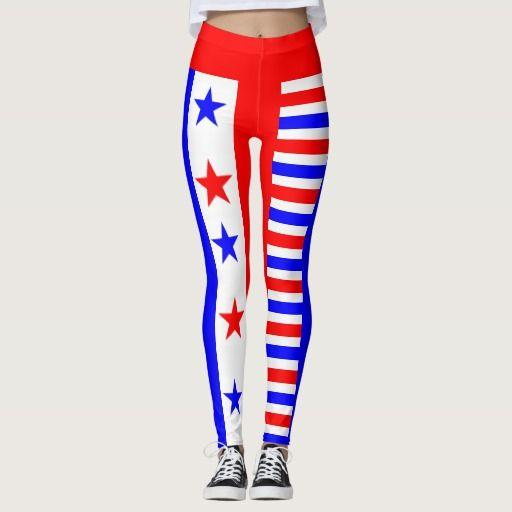Red White Blue Stars and Stripes Pattern USA Love #leggings #usa #starsandstripes #patriotic #party