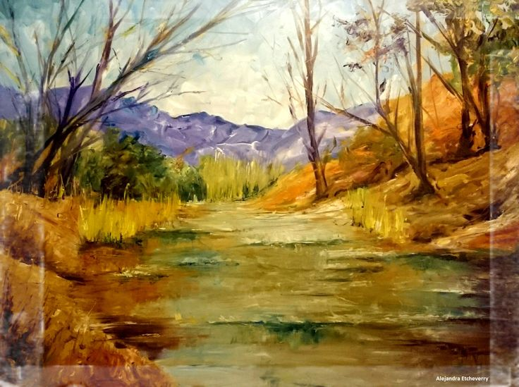 Título: Río Potrero - Óleo espatulado (60x45cm) - San Luis, Argentina - Autora: Alejandra Etcheverry