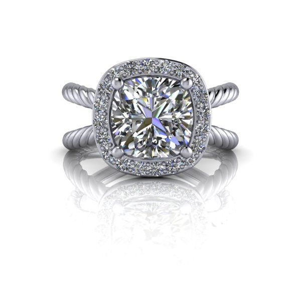 Forever One Colorless Moissanite Cushion Cut Split Shank Engagement Ring 2.23 CTW. A split shank halo engagement ring featuring a 2 ct cushion cut Forever One Colorless Moissanite by Charles & Colvard.  Diamond Halo: 22, F/G VS, .23 ct